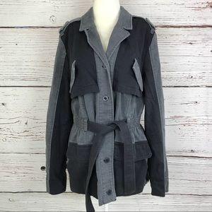 Hei Hei gray distressed pleated anorak jacket